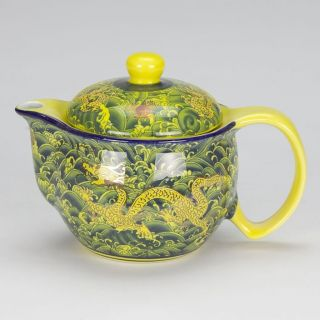 Antique Style Oriental Porcelain Teapot Infuser Yellow Dragon Mark Tea For One photo