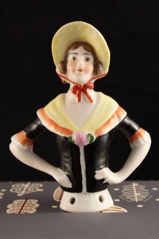 Antique Bisque German Half Doll Woman Yellow Bonnet Bright Color 14504 Germany photo
