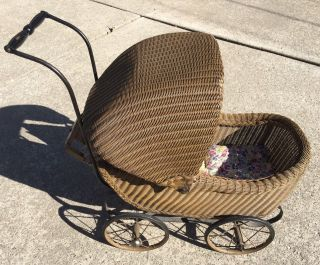 Vintage Wicker Baby Doll Carriage Buggy Great Store Display Or Movie Tv Prop photo