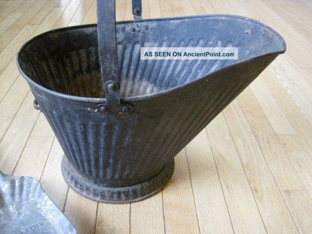 Vintage Coal Hod Bucket With Handle & Billy Penn Shovel Hearth Ware photo