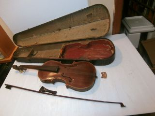 Vintage Hopf Violin With Coffin Case - For Parts/restoration photo
