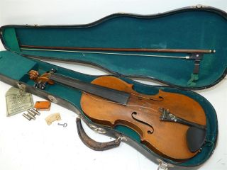 Vintage/antique Full Size 4/4 Scale Pearl Inlay Unmarked Violin W/old Case & Bow photo