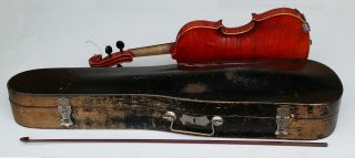 "Antique ½ Size 20 ½"" Child's German Violin / Fiddle In Wooden Case photo"