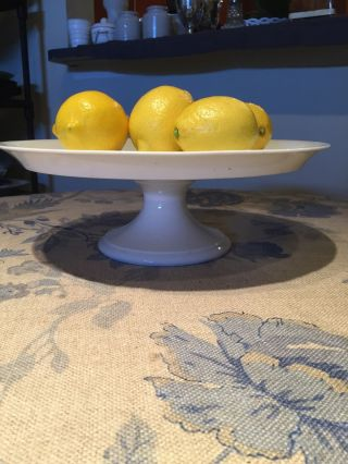 Antique White Ironstone/french Porcelain Pedestal Cakeplate Or Serving Stand photo