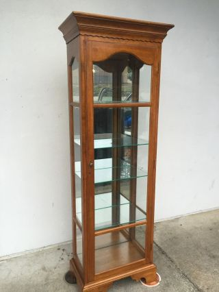 Vintage Ethan Allen Cherry Wood Curio Display Cabinet L@@k photo