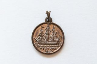 Rare Bfss Nelson 1905 Centenary Victory Copper Medal Made From Ship - Cond. photo