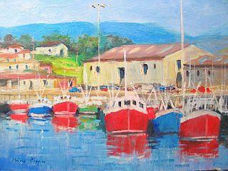 Stunning Colors Irirsh Seascape Fishing Fleet Painting Listed American photo