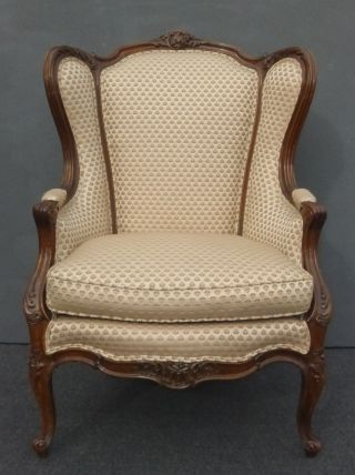 Gorgeous Vintage French Provincial Wingback Ornate Mauve Throne Arm Chair W Down photo