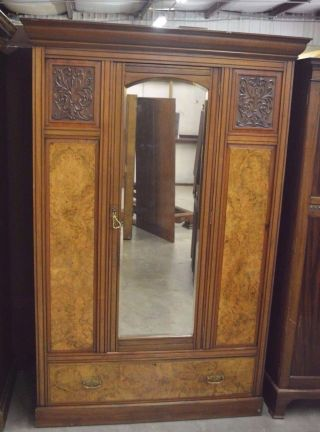 Antique Heavy Carved Wardrobe Armoire Burl Panels Large Dressing Mirror & Drawer photo