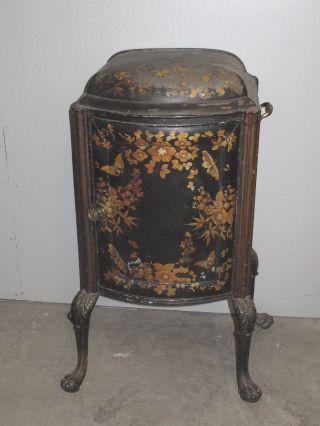 Antique 19th Century Tole Painted Fire Side Cabinet photo