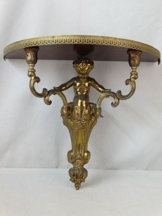 Antique French Rococo Old Victorian Figural Brass Sconce Putti Cherub Wall Shelf photo