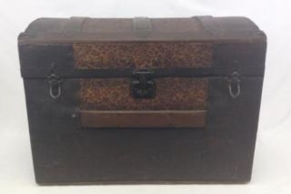 Antique Steamer Trunk Dome Top 1800 ' S Ornate Chest Leather Handles 25x15x19 photo