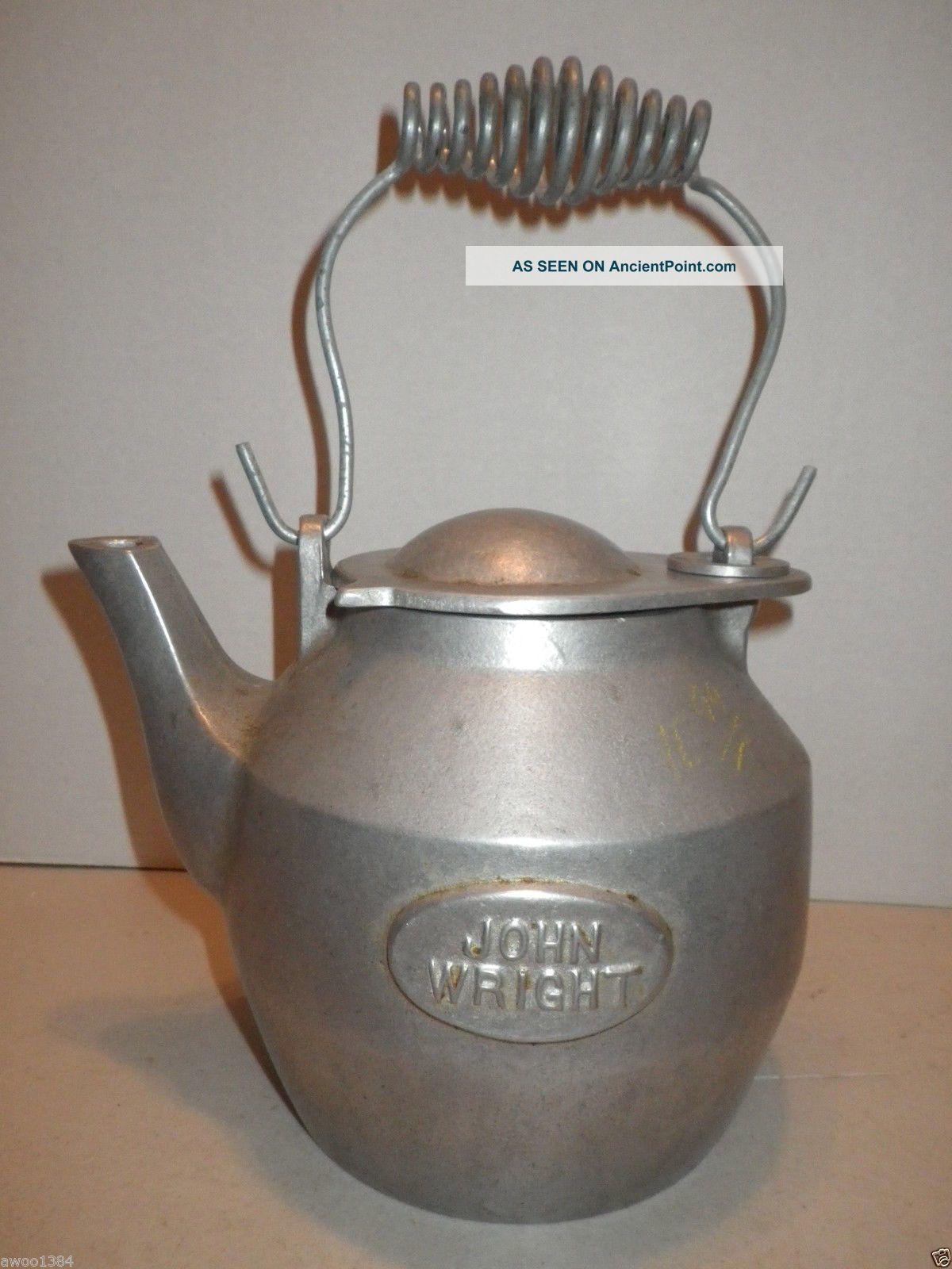 Cast Aluminum Kettle John Wright Teapot Large Stove Humidifier - Estate Find Hearth Ware photo
