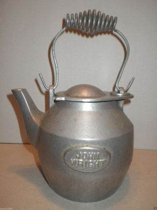 Cast Aluminum Kettle John Wright Teapot Large Stove Humidifier - Estate Find photo