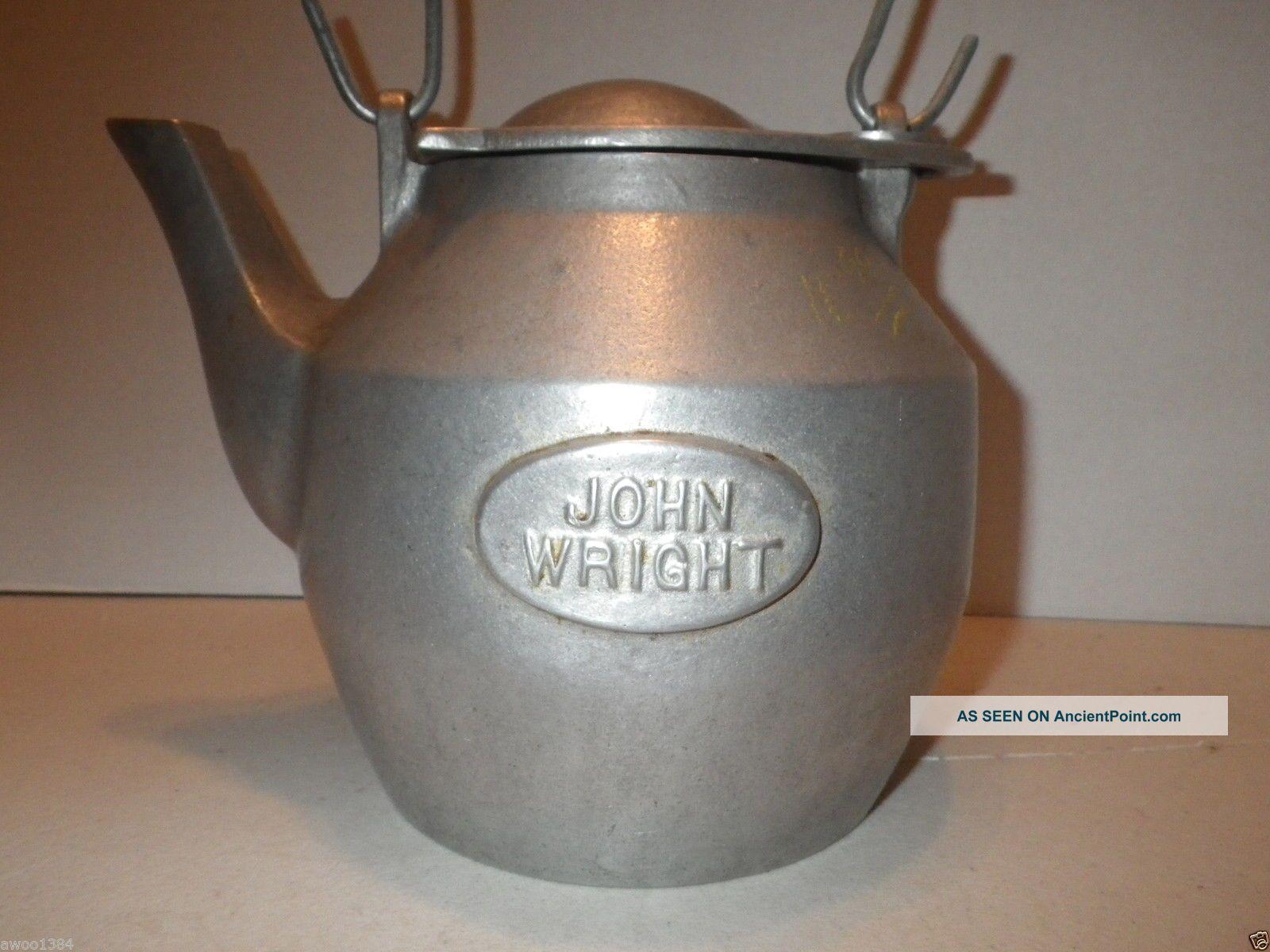 Cast Aluminum Kettle John Wright Teapot Large Stove Humidifier  #624735