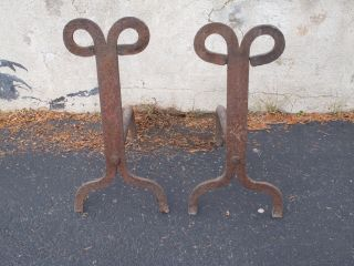Large Antique Rams Head Cast Iron Hand Forged Primitive Arts & Crafts Andirons photo