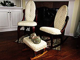 Victorian Style Furniture: Rocker,  Chair & Foot Stool In Near photo