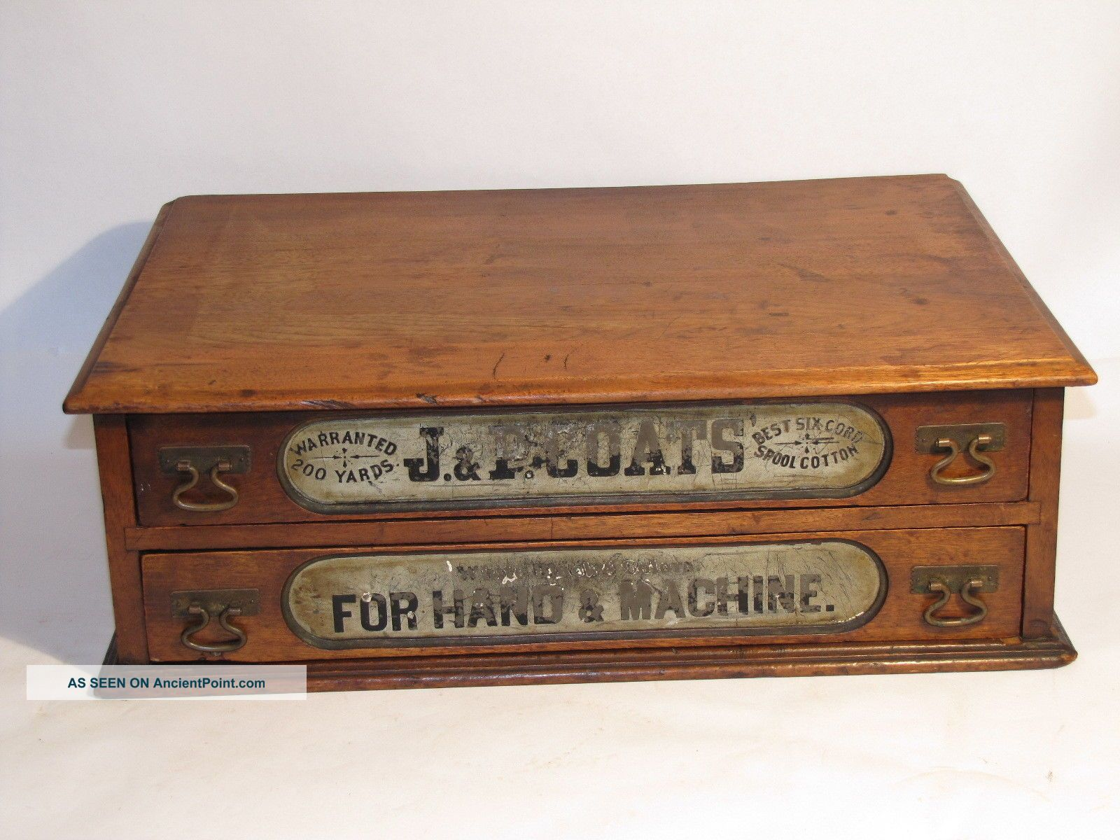 Vtg Victorian Antique Dovetail Wood 2 Drawer J.  & P.  Coats Thread Spool Cabinet Furniture photo