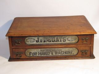 Vtg Victorian Antique Dovetail Wood 2 Drawer J.  & P.  Coats Thread Spool Cabinet photo