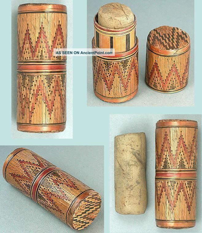 Antique Straw Work Thread Waxer Box Prisoner Of War Work Circa 1820 Other Antique Sewing photo