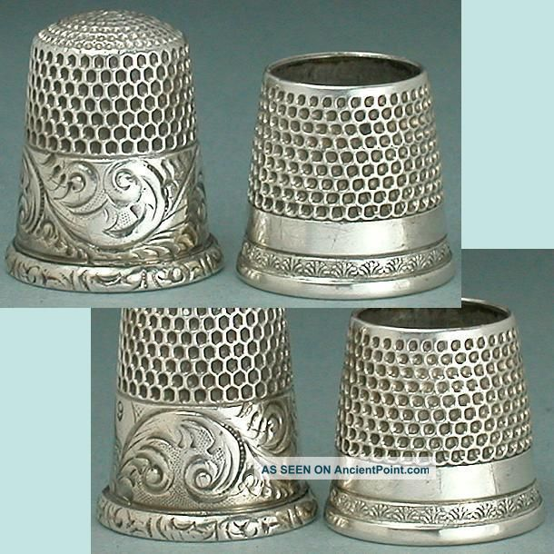 2 Antique Sterling Silver Thimbles,  One A Tailor ' S Thimble Circa 1890 - 1900 Thimbles photo
