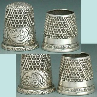 2 Antique Sterling Silver Thimbles,  One A Tailor ' S Thimble Circa 1890 - 1900 photo