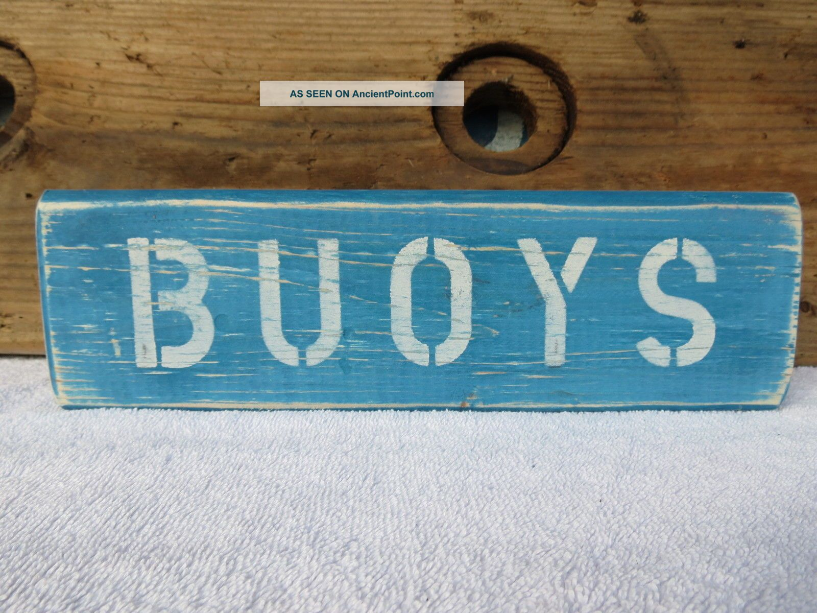 12 Inch Wood Hand Painted Buoys Sign Nautical Seafood (s360) Plaques & Signs photo