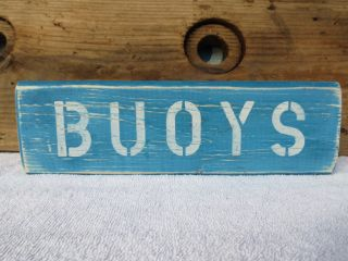 12 Inch Wood Hand Painted Buoys Sign Nautical Seafood (s360) photo
