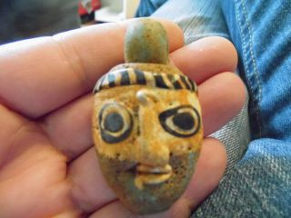 Head God Baal Rare Ancient Phoenician Glass Face Pendant photo