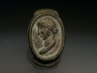 Interesting Roman Bronze Ring Roman Woman Empress photo