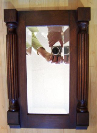 Antique Carved Mahogany Wall Mirror Beveled Glass Sheraton Neo Classic Federal photo