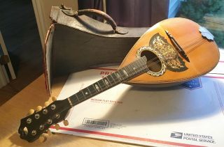 Antique 1910 ' S Vega Bowl Back Mandolin Serial No.  24150 With Case,  As - Is photo