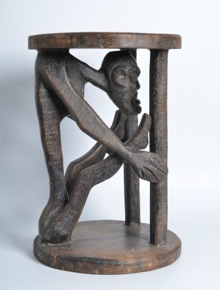 Antique African Bamileke Caryatid Figural Stool,  Carved Wood Cameroon Tribal Art photo