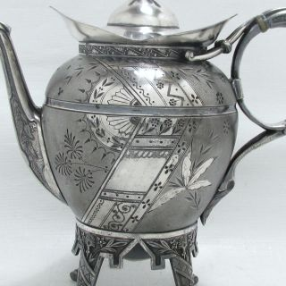 1880 Victorian Eastlake Japanese Meriden B.  Company Satin Chased Legged Tea Pot photo