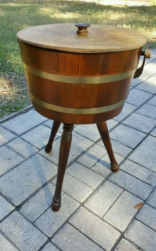 Vintage Mid Century Shaker Style Basketville Wood Firkin Round Sewing Basket photo