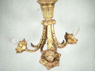 Antique Victorian Art Nouveau 3 Arm Brass Classical Rococo Chandelier photo