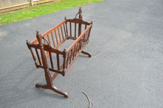 Antique Mahogany Wood Swinging Baby Child Cradle Crib Bassinet York 1920 ' S photo
