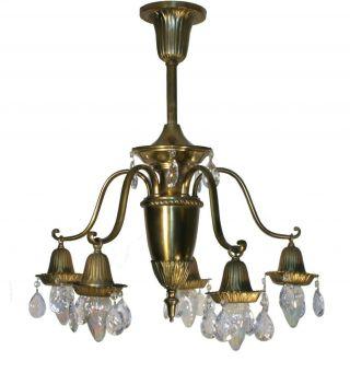 Vtg Antique Colonial Revival Chandelier Ceiling Fixture Lamp Solid Brass Prisms photo