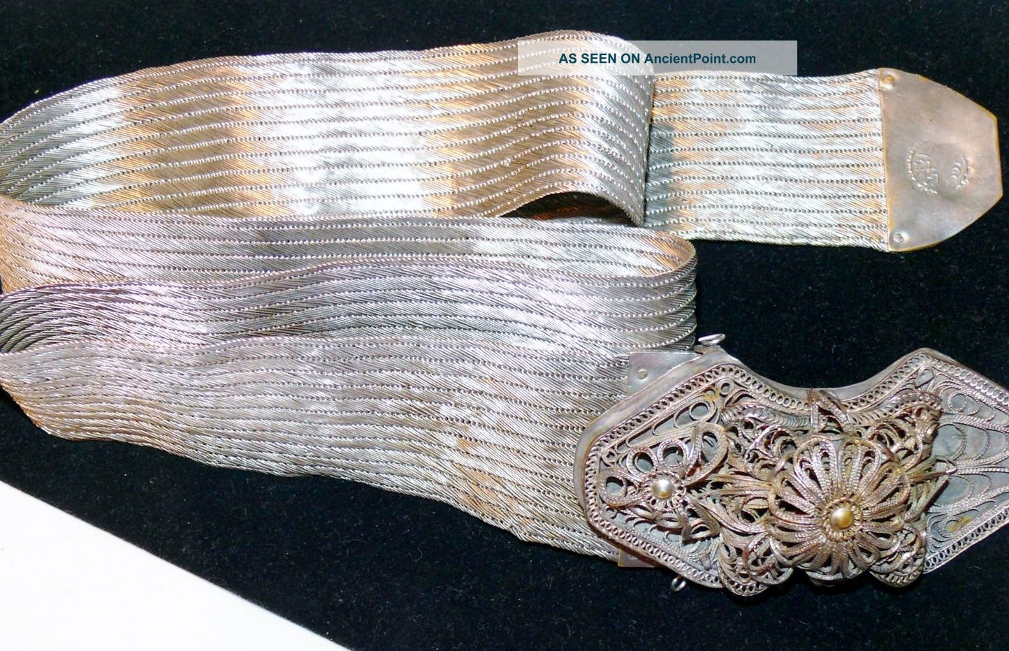 Antique 19th C Islamic Turkish Ottoman Empire Silver Belt Filigree Tughra Mark Middle East photo