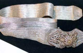 Antique 19th C Islamic Turkish Ottoman Empire Silver Belt Filigree Tughra Mark photo