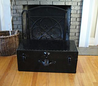 Black Night Steamer Trunk Antique Trunk Stagecoach Vintage Chest Coffee Table photo