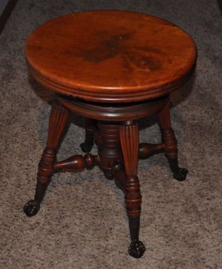 Antique Tonk Ny Chicago Adjustable Swivel Wood Piano Stool With Ball Claw Feet photo