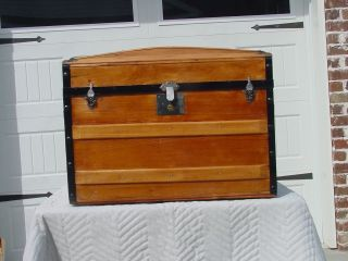Antique Trunk W/original Tray Pat ' D 1880,  77,  69 - 136 Years Old? Pro Restored photo