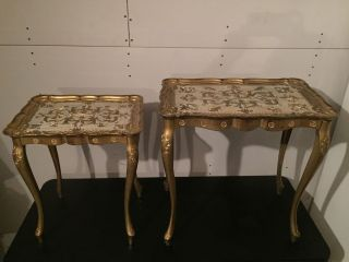 Vintage Nesting Tables Florence Italy Hollywood Regency Florentine Gold photo