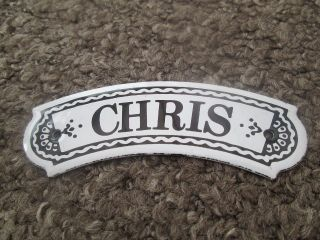 Vintage Dodo Designs (mfrs) Porcelain Enamel Name Plate - Chris photo