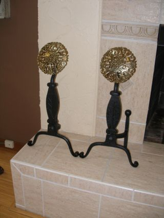 Williamsburg Baldwin Brass Iron And Brass Andirons photo