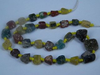 Ancient Fragment Glass Beads Strand Roman 200 Bc Ml1026 photo