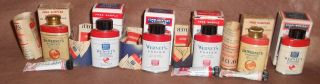 6 Vintage Dental Tins Dr.  Wernet ' S Powder In Boxes C1940 Wernet Dental Mfg photo