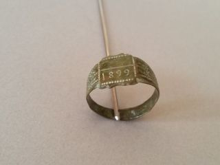 Top Price Antique Authentic Artifact Ottoman Bronze Ring From 1899 photo