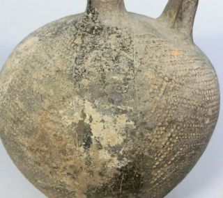 B314: Chinese Excavated Pottery Ware Bottle With Handle. photo
